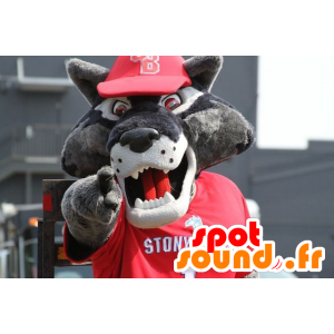 Mascotte de loup gris, en tenue de sport rouge - MASFR21619 - Mascottes Loup