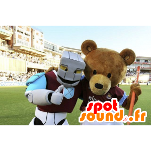 2 mascots, a brown bear and a white robot, blue and purple - MASFR21620 - Mascots of Robots
