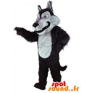 Sort og hvid ulvemaskot, alle hårede - Spotsound maskot kostume