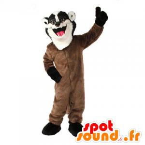 Mascotte de putois, de raton laveur marron, blanc et noir