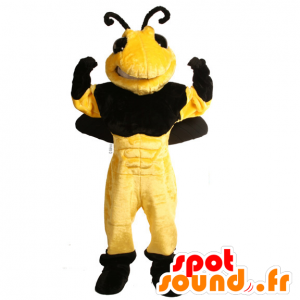 Bee Mascot, black and yellow wasp