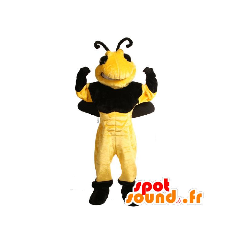Bee Mascot, black and yellow wasp - MASFR21629 - Mascots bee