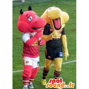 2 dragon mascots, one red and one yellow - MASFR21632 - Dragon mascot