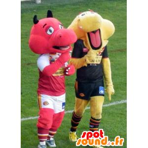2 lohikäärme maskotteja, punainen ja keltainen - MASFR21632 - Dragon Mascot