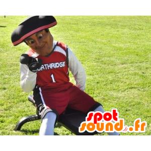 Maskotka żołnierz, patriota ubrana w czerwone, czarne i białe
