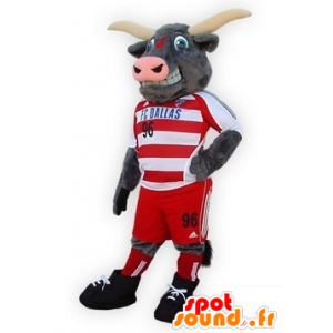 Buffalo mascot, gray bull in sportswear