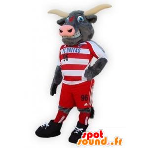 Mascotte de buffle, de taureau gris, en tenue de sport