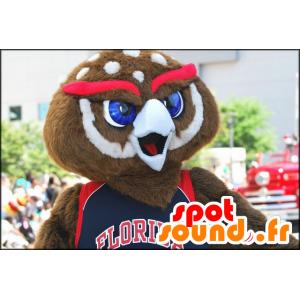 Ruskea ja valkoinen pöllö maskotti punaisella kulmakarvat - MASFR21639 - maskotti lintuja
