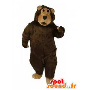 Mascotte bear brown and beige, while hairy - MASFR21645 - Bear mascot