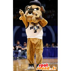 Brown Hund Maskottchen Bulldogge in der Sportkleidung - MASFR21650 - Hund-Maskottchen