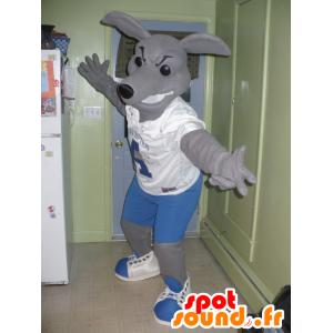 Mascotte de kangourou gris en tenue bleue et blanche