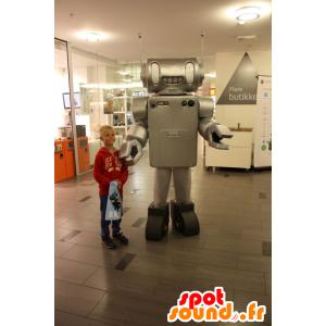 Mascotte metallico robot grigio, realistico