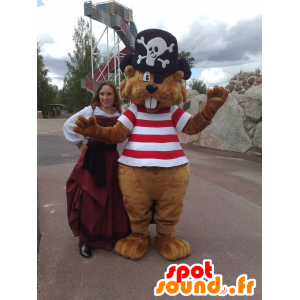 Brown beaver mascot pirate outfit - MASFR21656 - Mascottes de Pirate