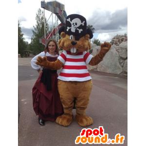 Bruine bever mascotte piraat gehouden