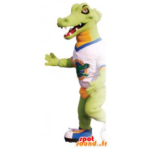 Mascota del cocodrilo verde y naranja con una camiseta - MASFR21661 - Mascota de cocodrilos