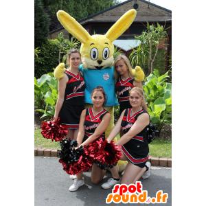 Geel konijn mascotte met een blauw shirt - MASFR21662 - Mascot konijnen