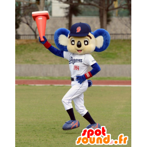 Mascot white and blue koala in sportswear