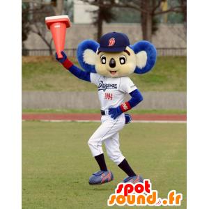 Mascot wit en blauw koala in sportkleding