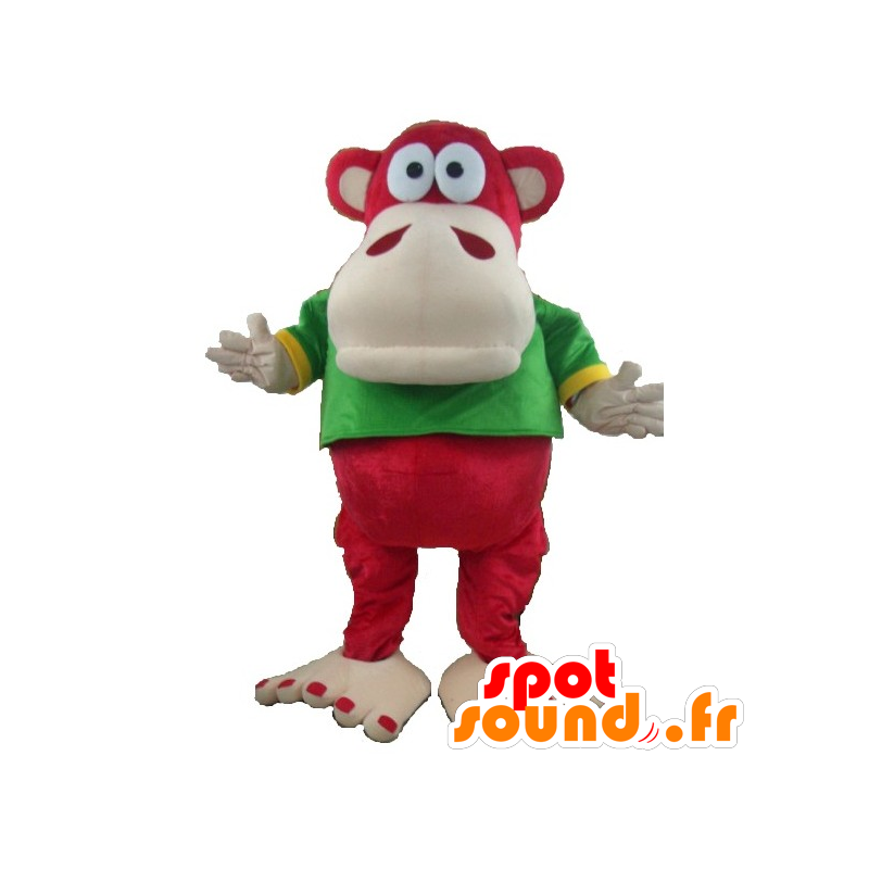 Mascot monkey red and beige with green and yellow t-shirt - MASFR21671 - Mascots monkey