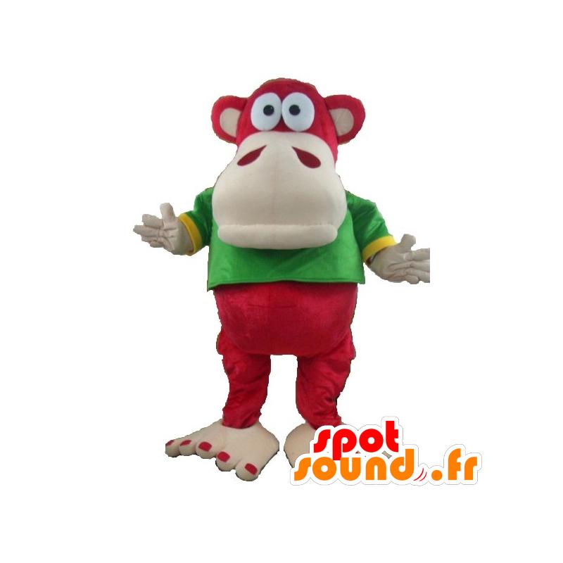 Mascotte de singe rouge et beige avec un t-shirt vert et jaune - MASFR21671 - Mascottes Singe