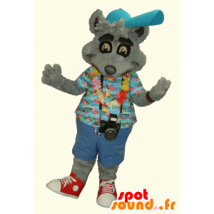 Mascot gray raccoon in vacationer held