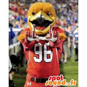 Mascot orange fugl, ørn kledd i røde sport - MASFR21673 - Mascot fugler
