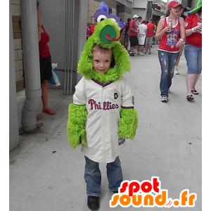 Green bird mascot, cute and all hairy - MASFR21676 - Mascot of birds