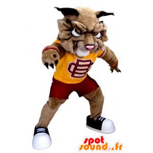 Dog mascot, brown lion in sportswear - MASFR21680 - Lion mascots