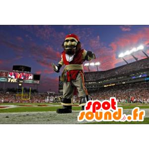 Mascot Piraat in rode kleding en grijs
