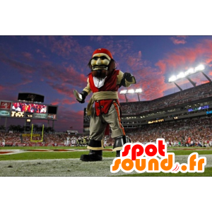 Pirate Mascot i rød kjole og grå - MASFR21688 - Maskoter Pirates