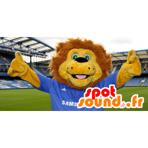Yellow and brown lion mascot with a blue jersey - MASFR21689 - Lion mascots