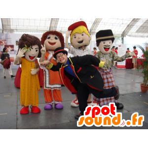 4 mascottes de filles et de garçons aux habits colorés