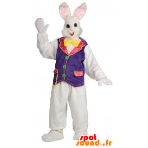 Maskotti kaunis valkoinen ja vaaleanpunainen kani liivit sirkus - MASFR21696 - maskotti kanit
