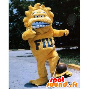 Yellow monster mascot, all hairy sun - MASFR21700 - Monsters mascots