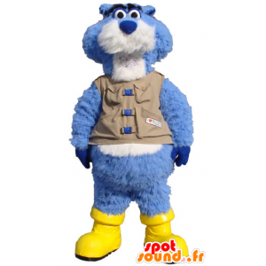 Mascot beaver blue and white, with a vest and boots