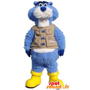 Mascotte de castor bleu et blanc, avec un gilet et des bottes