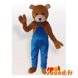 Mascote urso pardo em macacões azuis - MASFR006474 - mascote do urso