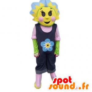 Kleurrijke mascotte en bloemen, zonnebloem mascotte - MASFR21718 - mascottes planten