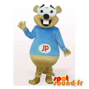 Beige bever mascotte in blauw overhemd - MASFR006475 - Beaver Mascot