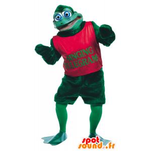 Grüner Frosch mit blauen Augen Maskottchen - MASFR21721 - Maskottchen-Frosch