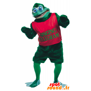 Green frog with blue eyes mascot - MASFR21721 - Mascots frog