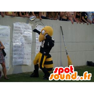 Bee Mascot, black and yellow wasp