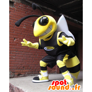 Bee mascot, yellow and black wasp