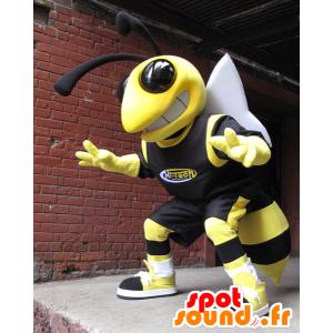 Bee Maskottchen, gelb und schwarz Wespe
