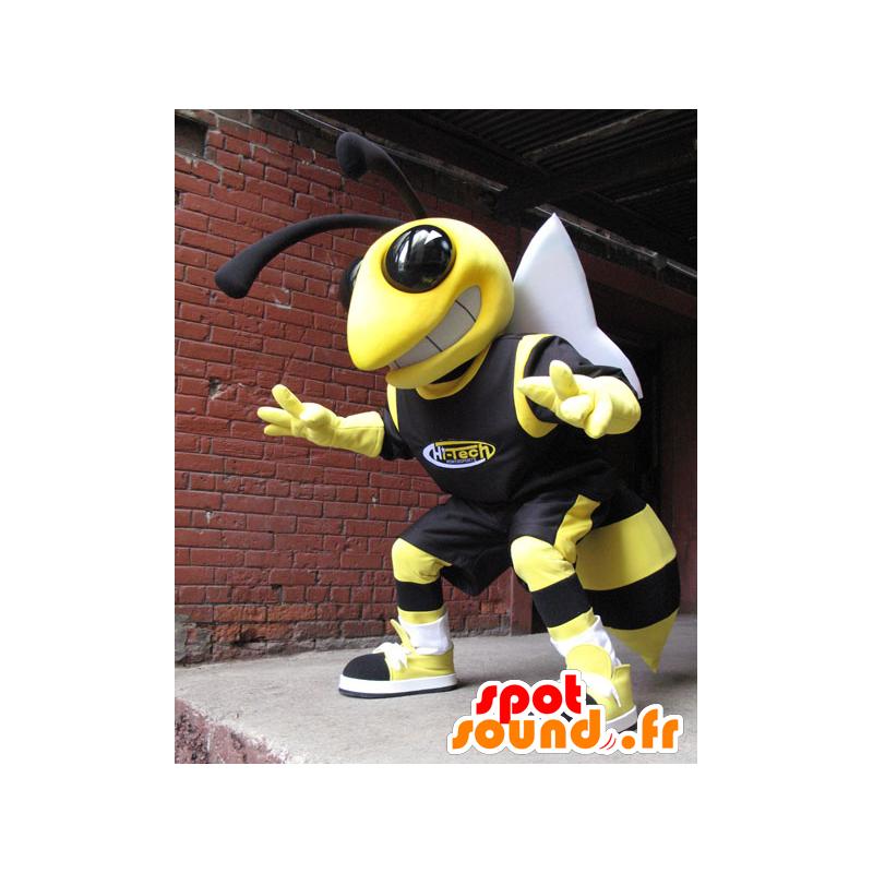 Bee mascot, yellow and black wasp - MASFR21742 - Mascots bee