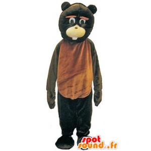 Mascot brown and black bears, giant and fun - MASFR21743 - Bear mascot