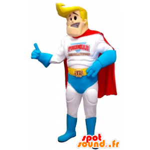 Superhero mascot, blond and muscular