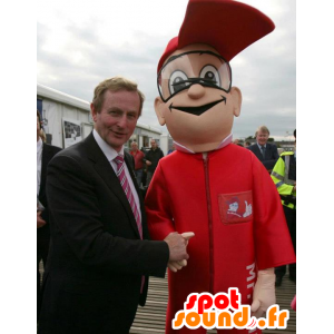 Man mascot red combination of hotel - MASFR21748 - Human mascots