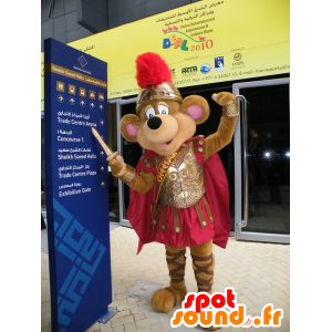 Brown mouse mascot, dressed as a knight