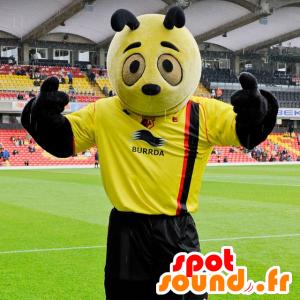 Mascotte de panda jaune et noir - Mascotte d'insecte jaune